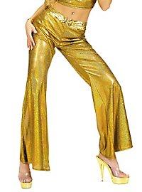 Disco Glitzer Damenhose gold