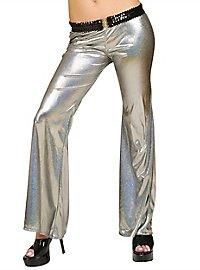 Disco Glitzer Damenhose silber