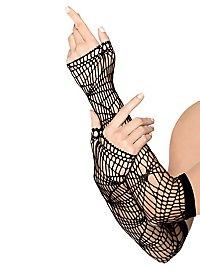 Distressed Mesh Arm Warmers black