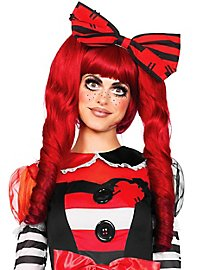 Doll Wig with Pigtail Clips red