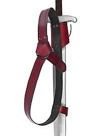 Doppelter Rückenschwerthalter Ring rot