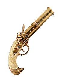 Double-barrelled flintlock pistol Decorative gun