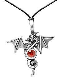 Drachen Kette mit rotem Stein