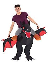Drachen-Reiter schwarz Aufblasbares Kostüm