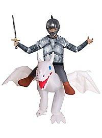 Drachen-Reiter weiß Aufblasbares Kinderkostüm