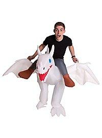 Drachen-Reiter weiß Aufblasbares Kostüm