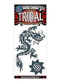 Dragon & Borneo Star Tribal Temporary Tattoo