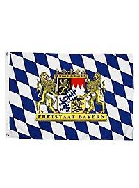 Drapeau État libre de Bavière avec armoiries lion grand