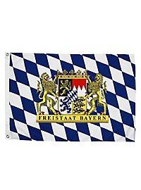 Drapeau État libre de Bavière avec armoiries lion petit