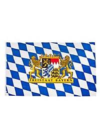 Drapeau État libre de Bavière avec très grandes armoiries lion