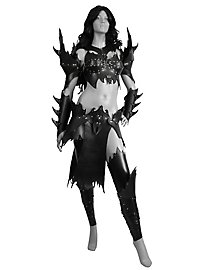 Dunkelelfen Kriegerin Lederrüstung schwarz Deluxe