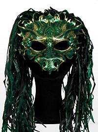 Emerald Dragon Leather Half Mask