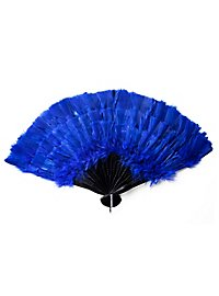 Éventail en plumes bleu