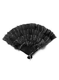Éventail en plumes noir