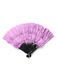 Éventail en plumes rose