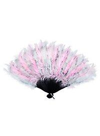 Éventail en plumes rose et blanc