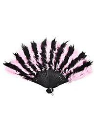 Éventail en plumes rose et noir