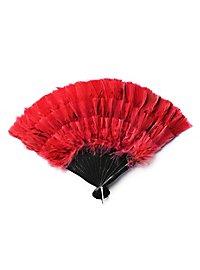 Éventail en plumes rouge