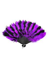 Éventail en plumes violet et noir
