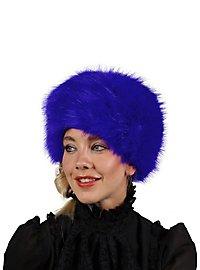 Fake fur hat blue