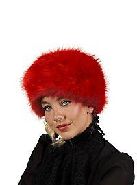 Fake fur hat red