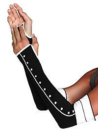 Fingerlose Armstulpen mit Knopfleiste schwarz-weiß