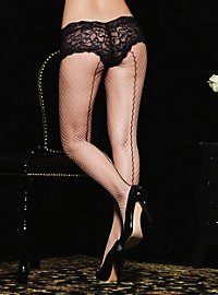 Fishnet pantyhose with black backseam and lace panties