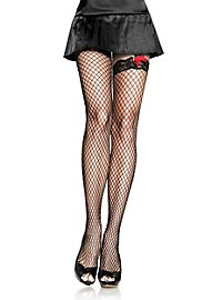 Fishnet Pantyhose with Decorative Garter Belt