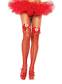 Fishnet Stockings with bow red