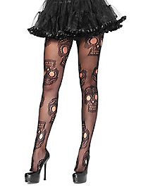 Fishnet tights with skull design