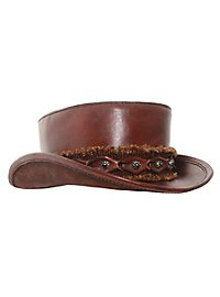 Flat leather top hat brown
