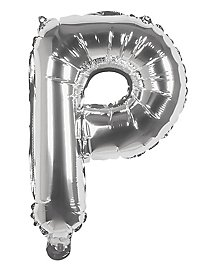 Folienballon Buchstabe P silber 36 cm