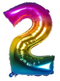 Folienballon Zahl 2 Regenbogen 86 cm