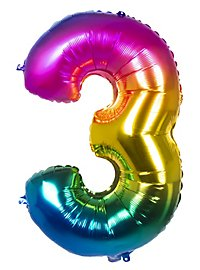 Folienballon Zahl 3 Regenbogen 86 cm