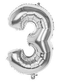 Folienballon Zahl 3 silber 86 cm