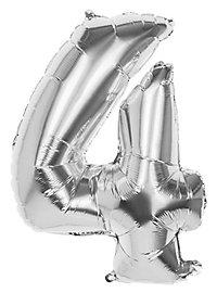 Folienballon Zahl 4 silber 86 cm