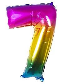 Folienballon Zahl 7 Regenbogen 86 cm