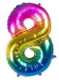 Folienballon Zahl 8 Regenbogen 86 cm