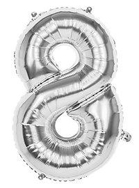 Folienballon Zahl 8 silber 86 cm