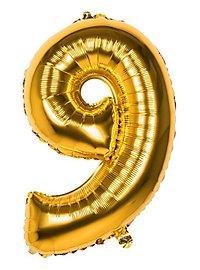 Folienballon Zahl 9 gold 86 cm