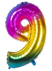 Folienballon Zahl 9 Regenbogen 86 cm