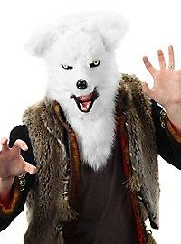 Fuchs Maske mit beweglichem Mund weiß