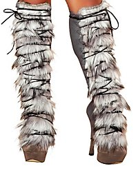Fur Leg Warmers with Lacing