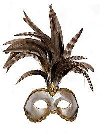 Galetto Colombina argento piume miele Venezianische Maske