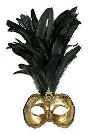Galetto Colombina oro piume nere - masque vénitien