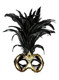 Galetto Colombina scacchi bianco nero piume nere - Venezianische Maske