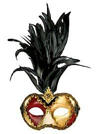 Galetto Colombina scacchi colore piume nere - Venetian Mask