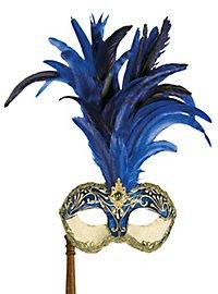 Galetto Colombina stucco craquele blu con bastone - Venezianische Maske