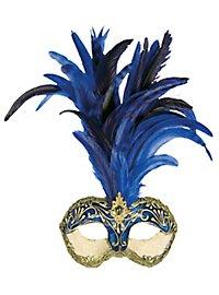 Galetto Colombina stucco craquele blu piume blu - masque vénitien