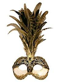 Galetto Colombina stucco craquele nero piume miele - Venezianische Maske